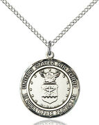 925 Sterling Silver Air Force St Christopher Military Catholic Medal Necklace
