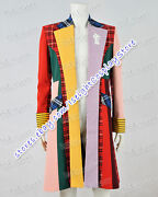 Who Is Doctor Series Cosplay 6th Sixth Dr Costume Colorful Stripe Coat Halloween
