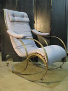 Rare 1860and039s-1880and039s Curved Steel English Campaign Style Rocking Chair Winfield