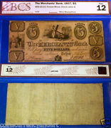 1837 5 The Merchants Bank - F12 Highest Grade Known For This Banknote