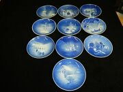 Set Of 10 Mint B And G 1970 To 1979 Jule After Christmas Plates Blue And White