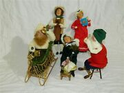Lot Of 5 Byers Choice Carolers Santa On Sled, Woman On Sled And More