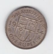 1934 Mauritius One Rupee King George Coat Of Arms Silver Coin Show 8 Pearl C-330