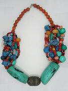 Exquisite Antique Tibetan Coral And Huge Turquoise Necklace And Amulet 417 G
