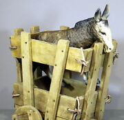 Vintage Wooden Cart And Celluloid/plastic Donkey