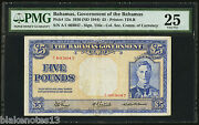 Bahamas Government Andpound5 1936 Nd 1944 Pick 12a Pmg 25 Vf