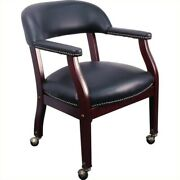 Flash Furniture Luxurious Conference Guest Chair In Black With Casters