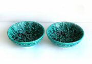 Artisan Studio Handmade Signed Blue Green 2 Bowl Cup Ceramic Pottery Clay