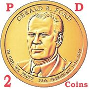 2 Coins Set 2016 D And P President Gerald Ford Presidential 1 Dollar