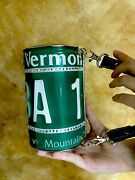 Little Earth Metal W/ Crystal Cylinder Purse Vermont License Plate