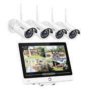 Zosi 1080p Wireless Wifi Security Camera System With Monitor 12.5 Inch Nvr 1tb