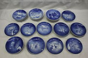 Set Of 13 Mint B And G Bing And Grondahl Christmas Plates Blue And White 1969-1981 3