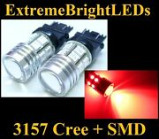 Two Brilliant Red 3156 3157 Cree Q5 + 12-smd Turn Signal Brake Stop Lights