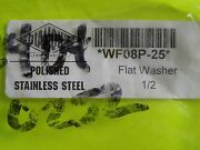 New Diamond Engineering 1/2 Flat Polished Stainless Steel Washer P/n Wf08p
