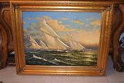 Large Original Sailboat Oil Painting Into The Wind By Artist D. Kiewer