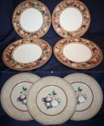 Fitz And Floyd Tuscany Dinner 4 And Salad 3 Plates In Great-excellent Condition