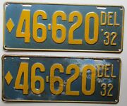 Delaware 1932 License Plate Pair Nice Quality 46-620