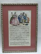 Rare 1737 Hand Colored English Engraving Sheet Music On Beauty