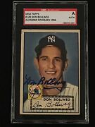 Don Bollweg 1952 Topps Signed Autographed Card 128 Ny Yankees Sgc Authentic