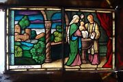 + Beautiful Antique Stained Glass Window The Baptism + Shipping Available +