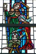 + Nice Figural Stained Glass Window 15and039 Tall X 4and039-6w. 4 Of 12 + Chalice Co.