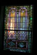 + 120 Year Old Opalescent Stained Glass Window 38 W X 66 Ht. + Chalice Co.o