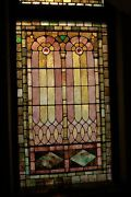 + 120 Year Old Opalescent Stained Glass Window 38 W X 66 Ht. + Chalice Co U