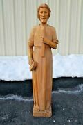 + Hand Carved Wood Statue Of St. Joseph The Worker + 42 Ht. + Chalice Co.