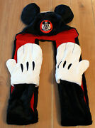 New Disney Parks Mickey Mouse Ears Plush Hat With Scarf Mittens - Adult Size