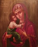 Antique Finely Painted 19c Russian Icon Of The Vladimir Mother Of God