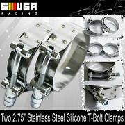 2x2.75 Stainless Steel T-bolt Clamps Silicone Coupler Intercooler Turbo Intake