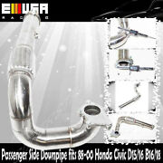 Stainless Steel Turbo Downpipe 3 For 88-00 Honda Civic D15/16 T3/t4 5 Bolts