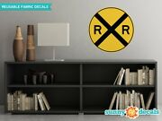 Rail Road Crossing Circular Sign Fabric Wall Decal - Traffic And Street Signs -