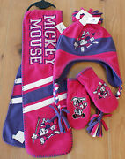 New Disney Parks Mickey Mouse Scarf - Mittens - Beanie Hat Set - Kids Size
