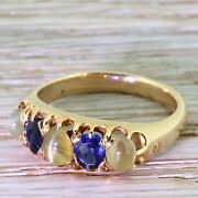 Victorian Catand039s Eye Chrysoberyl And Sapphire Five Stone Ring - 15k Gold - C 1900