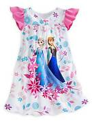Disney Store Frozen Elsa And Anna Night Shirt Size 5/6 New Night Gown