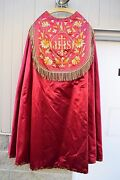 + Fantastic Older Embroidered Red Cope + Chalice And Vestment Co. Cu115