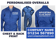Personalised Overalls Royal Blue Coverall Custom Workwear Printed Boiler Suit