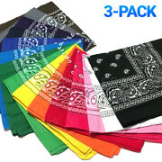 3-pack Bandana 100 Cotton Paisley Print Double-sided Scarf Head Neck Face Mask
