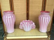 Large 3 Piece Mid Century Murano Glass Ribbed Pink / Clambroth Vases And Bowl