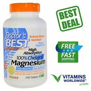 Doctor's Best, High Absorption Magnesium, Vegan, 100 Chelated, 240 Tablets