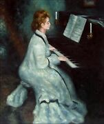 Pierre Renoir Lady At The Piano Repro Hand Painted Oil Painting 20x24in