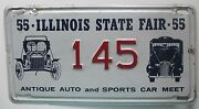 Illinois 1955 State Fair Antique Auto And Sports Car Meet License Plate Nice 145