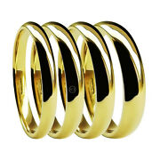18ct Yellow Gold Blend Court Wedding Rings Uk Hm Bands 2mm 3mm 4mm 5mm 6mm New