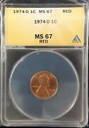 1974-d Lincoln Memorial Cent Anacs Ms67 Rd Red High Grade Us Coin 333