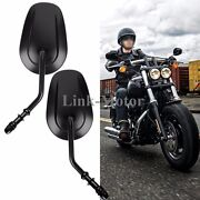 Custom Black Tapered Mirrors With Short Stem For Harley Davidson Motorcycles Us