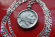 1937 Buffalo Nickel Pendant On A 28 .925 Sterling Silver Chain
