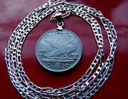 Scarce Italian Eagle Heritage Coin Pendant On A 20 .925 Sterling Silver Chain