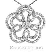 1.00ct F Vs Diamond Flower Shape Pendant In 18ct White Gold With Chain