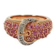 3444-14k Rose Gold Pink Sapphire And Diamond Buckle Ring Approx 1.25tcw Size 6.25